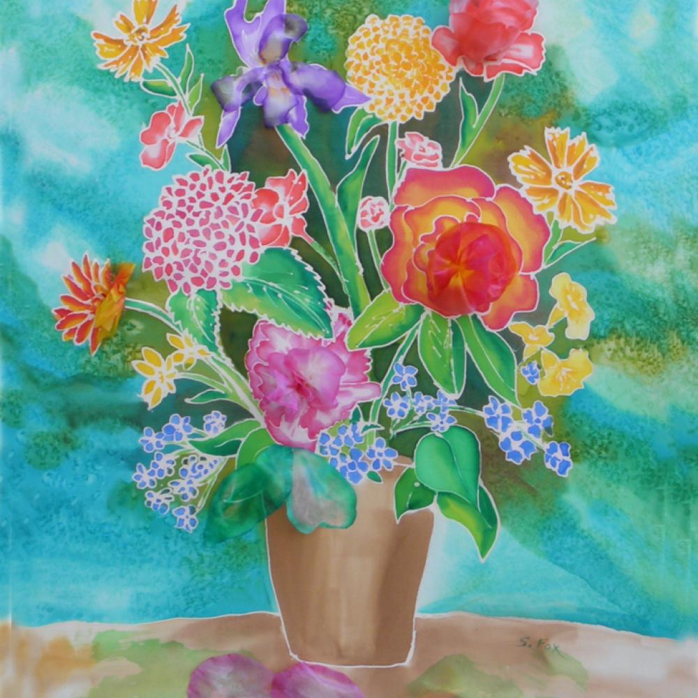 Bouquet Of Flowers Hand Painted Silk Sandra Fox Art