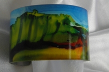 Bracelet cuff painted with alcohol inks landscape design # 59
