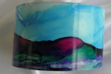 Bracelet cuff painted with alcohol inks landscape design # 64
