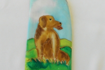 Painted Silk Eyeglass Case with Large Brown Dog