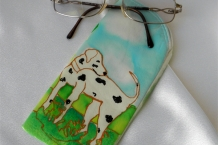 Painted Silk Eyeglass Case with Dalmatian Dog