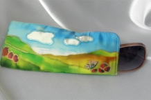 Painted Silk Eyeglass Case with red rocks landscape design