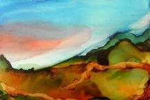 Alcohol Ink landscape painting # 122