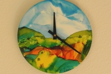 Hand Painted Clock with Alcohol Inks Landscape Design # 3