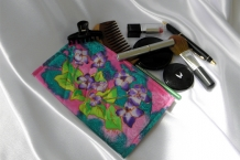 Hand Painted Silk Make up Case with Purple Flowers