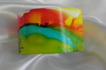 Alcohol Ink Hand Painted Bracelet Cuff Landscape Design # 34