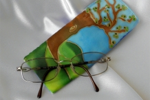 Large Tree Hand Painted Silk Eyeglass Case