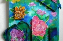 Hand Painted Silk with 3 Dimensional Touches