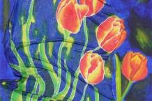 Tulips Hand Painted Silk
