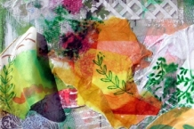 """Mixed Media Collage with Painted Silk """"Garden Gate"""""""
