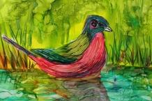 Alcohol Ink bird painting # 166