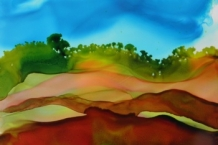 Alcohol Ink Painting of a Peaceful Day on Yupo Paper