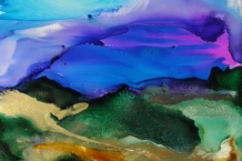 Alcohol Ink Painting of Stormy Clouds on Ceramic Tile