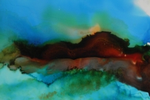 Alcohol Ink abstract landscape painting # 147