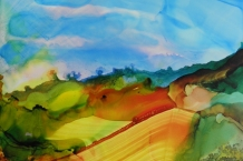 Alcohol Ink landscape painting # 158