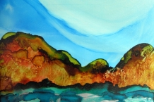 Mountains and Water Painted in Alcohol Ink
