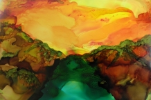 Alcohol Ink landscape painting # 183