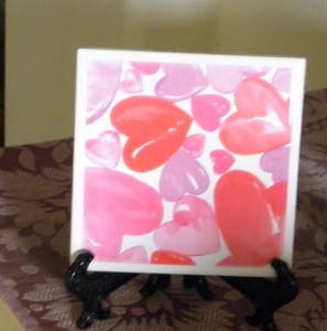 a heart tile coaster