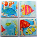 4 fish dye sublimation tiles as coasters